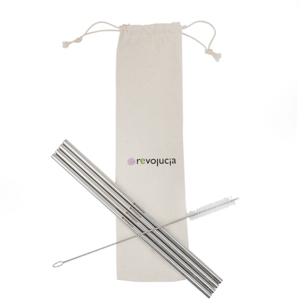 4 Stainless steel straws with a cleaning brush