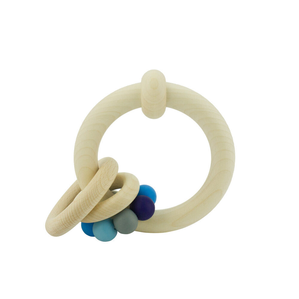 Wooden Rattle with Rings (different colours) - 5