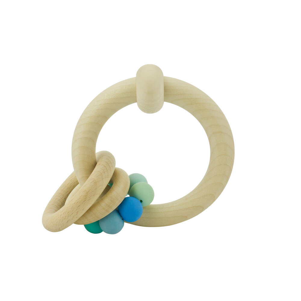 Wooden Rattle with Rings (different colours) - 4