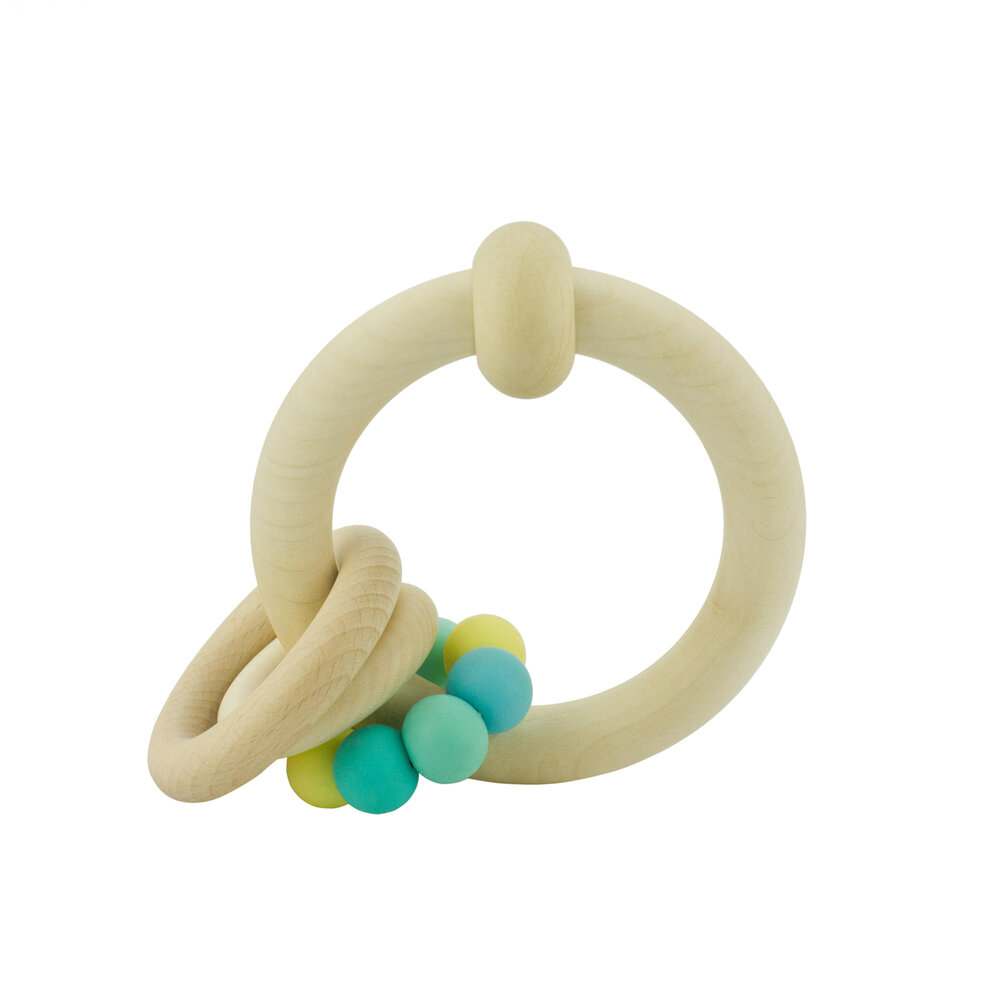 Wooden Rattle with Rings (different colours) - 3