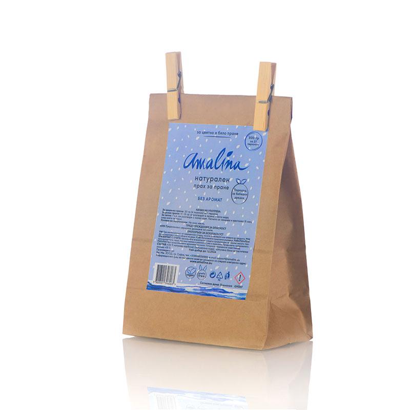 Натурален прах за цветно и бяло пране без аромат (пълнител) - 800g