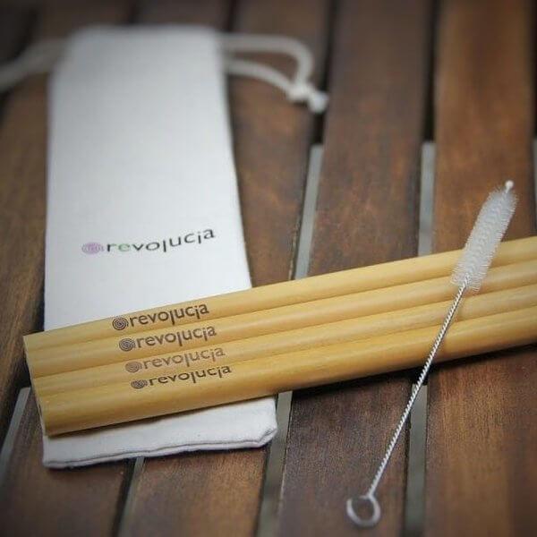 4 Бамбукови сламки с четка за почистване